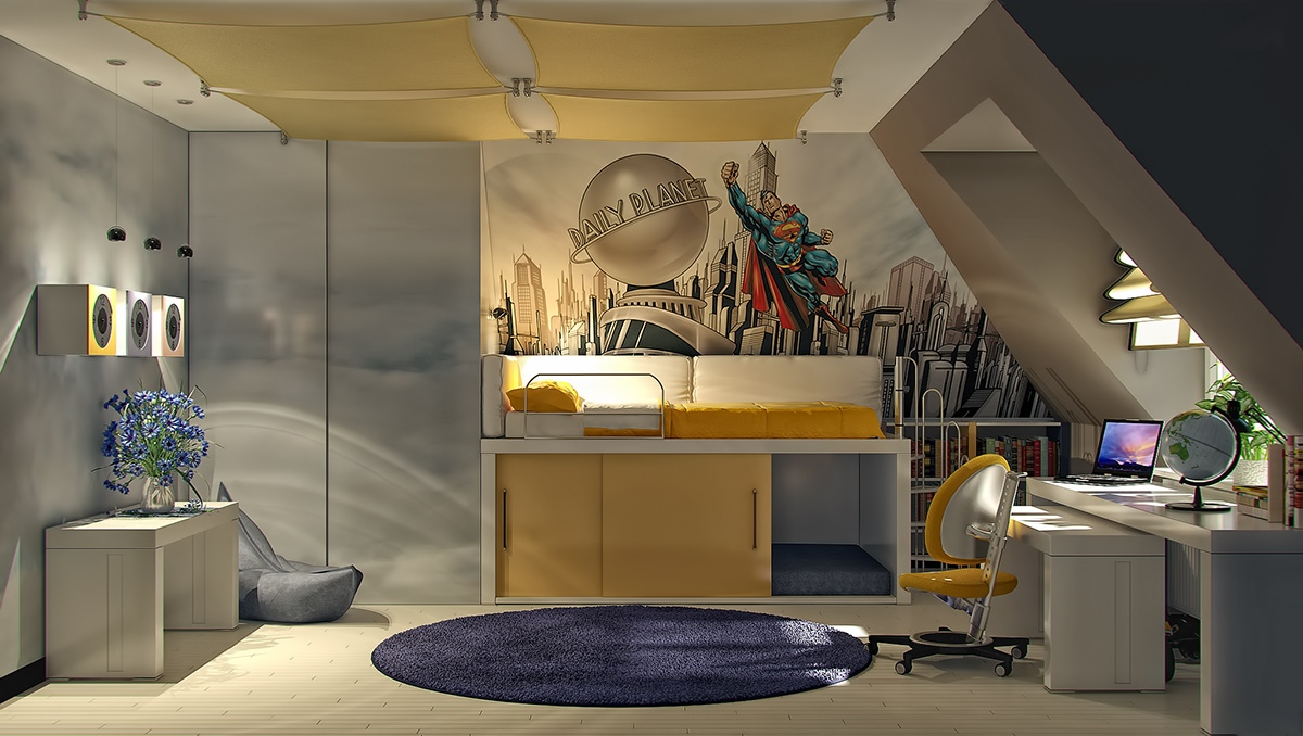 Colorful kids rooms - Comic themed bedroom ...
