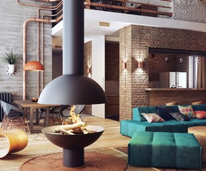 Loft number 1, by Alexander Uglyanitsa, is an interesting and unusual design developed for a Minsk, Belarus project, with furniture mostly Riva by Pininfarina.