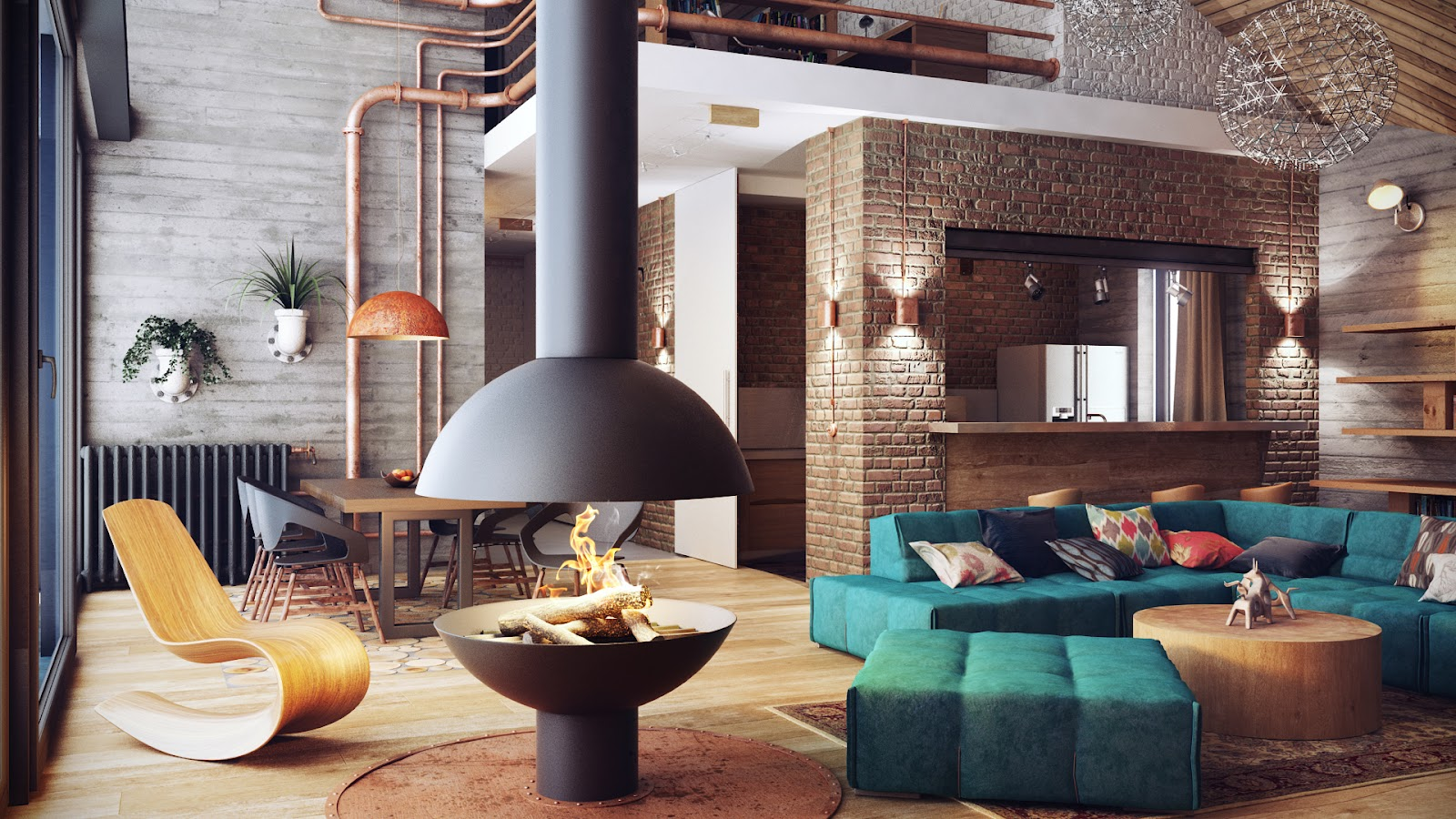 Industrial Loft Interior Design 1600 x 900