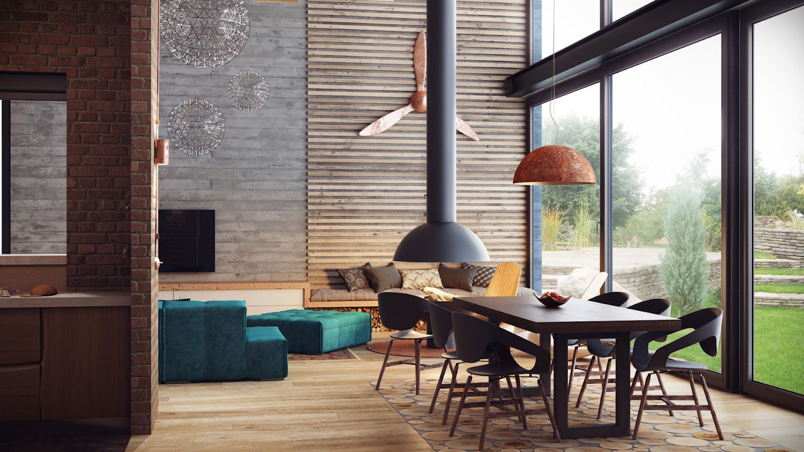 Loft Style In The Interior The Entire Space Is Warmed By The Wooden Ceiling Panels Which Also