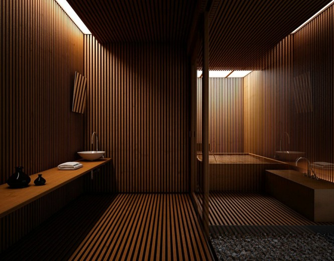 This unusual bathroom treatment creates an intimate spa-like atmosphere.
