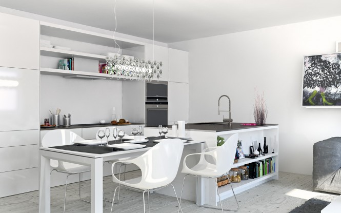 The design supplies added interest in the bright white kitchen area with open shelving to display attractive kitchen paraphernalia and cookbooks.