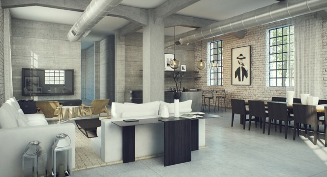 Loft number 3 explores a much more neutral palette, cool and edgy with dark undertones that act as an anchor to the pale high ceilings.