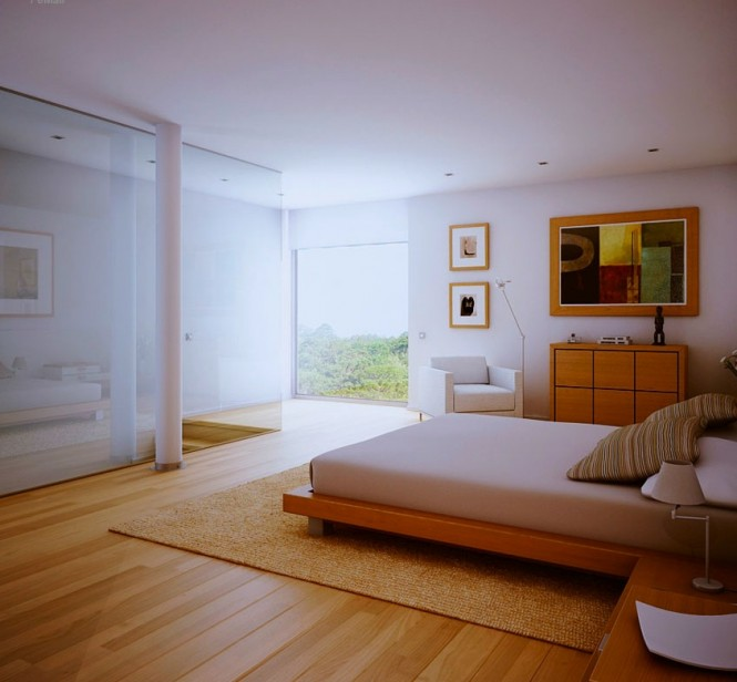 The generous proportions of this bedroom are maximized by the installation of a low lying platform bed to allow the view to flow unobstructed from one side to the next, and a frameless glazed wall to the descending stairwell.