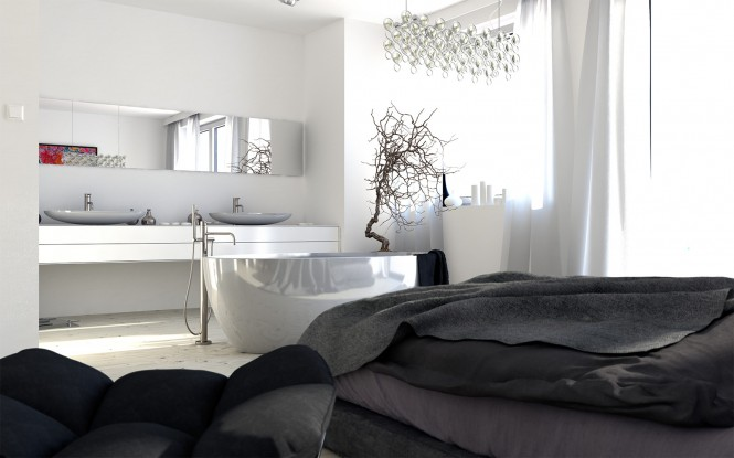 This combined bedroom/bathroom is super sleek with its bold layout of centrally situated bathtub and twin basins.