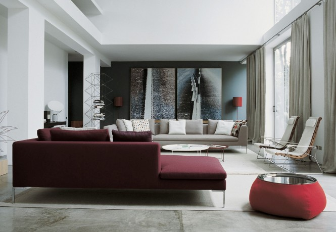 Burgundy sofa