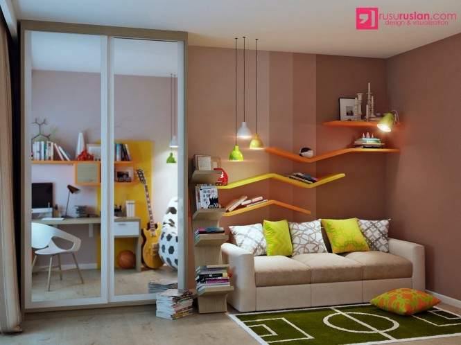 The zigzag shelving in this kids space forms an electric current of color across a neutral wall, complemented by a complimentary cluster of pendant lights.