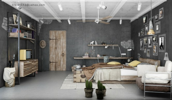 The first combats the coldness of gray concrete walls by incorporating the organic shapes and tones of driftwood into the scheme. The ragged edged wooden pieces are fashioned into a desk with an overhead shelf, which compliment the rustic wooden headboard, heavy door and two-toned storage unit.