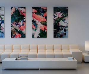 Via ScheMake a statement with wall art, and don't scrimp on the proportions! Large pieces hung in multiples look bold and daring.