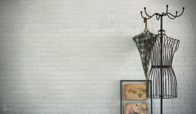 A metal coat rack ties in with the industrial look, but brings with it a curvaceous silhouette.