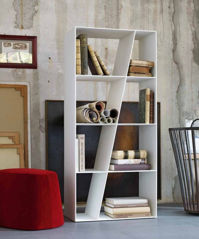 The asymmetrical line of this bookcase keeps the visual fresh and unexpected.