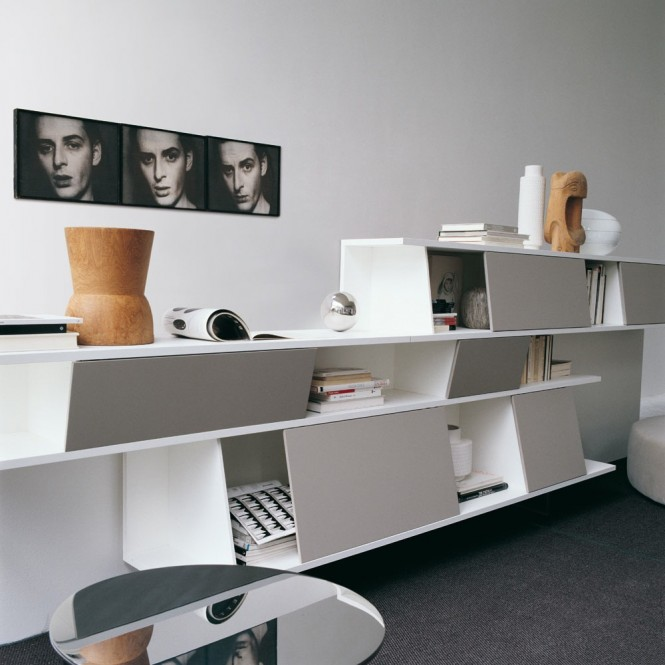 White contemporary shelving
