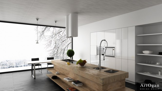 Starting off with a simple white and wood kitchen, check out this chunky kitchen island, constructed like an oversized butchers block to contrast against the slim units and exposed shelving in the backdrop. The large island takes the starring roll in this layout, set off by a flourish in the form of an equally oversized faucet.