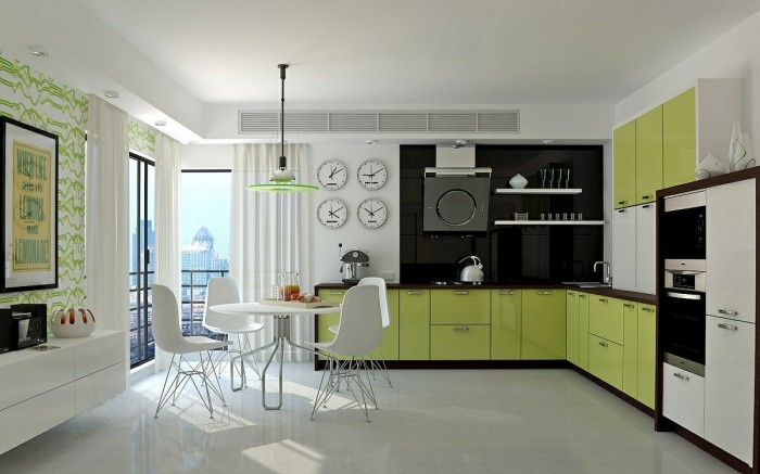The simplest way to introduce impact is with color, and this bright green cabinet run streaks ahead of most hues with zest.