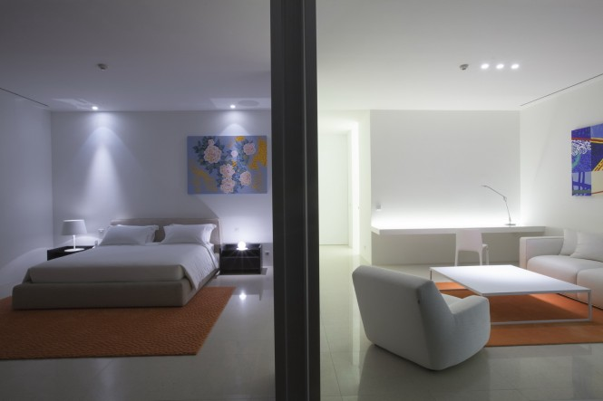 Orange white interior decor