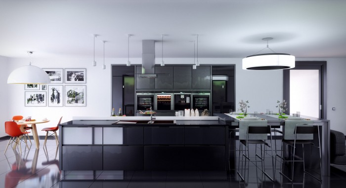 Gray kitchen units