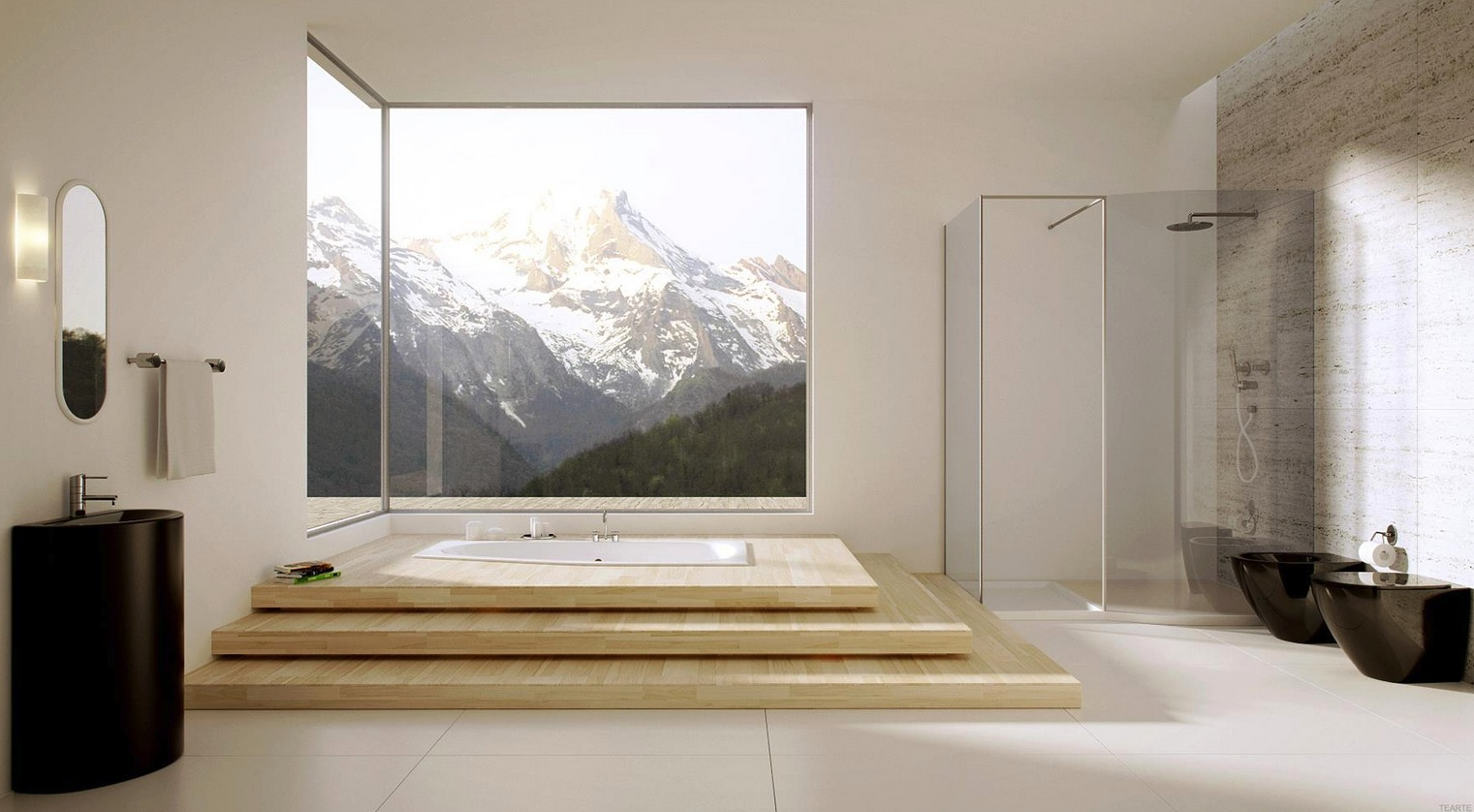 Brilliant Modern Bathroom with Large Windows 1521 x 838 · 241 kB · jpeg