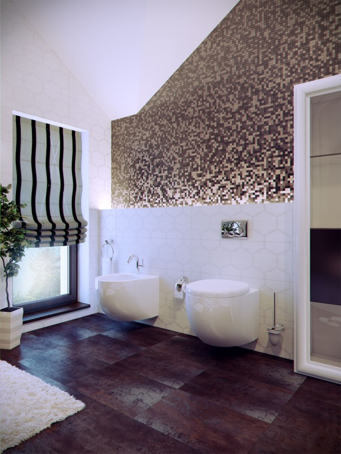 Vadadim Grinevich created a dramatic movement in this contemporary bathroom through the use of a myriad of colorful tiles set in a chaotic pattern.