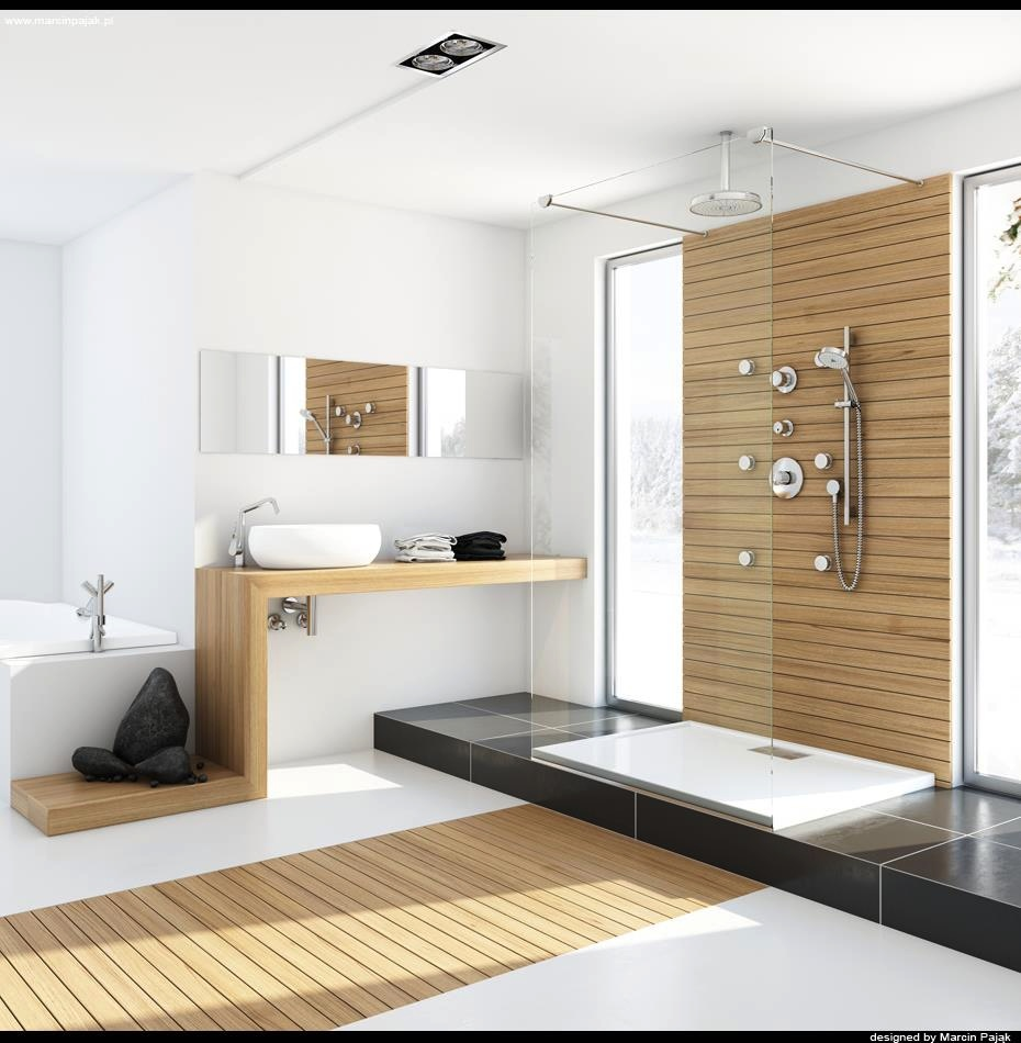 Modern Bathroom With Unfinished Wood