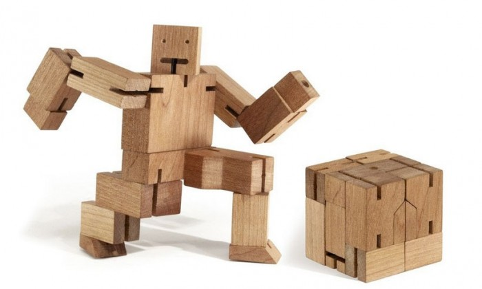 Areaware Cubebot: A cute little transforming cube bot made of cherry wood.