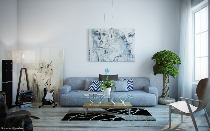 This artist's loft uses many shades of grey in the most beautiful of ways: the weathered grey wood floor, the modern artwork, the blue-grey sofa and the slightest hint of grey undertones on the walls.