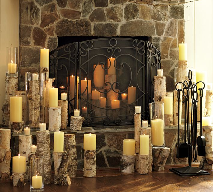 Decorating with Candles Inside Fireplace