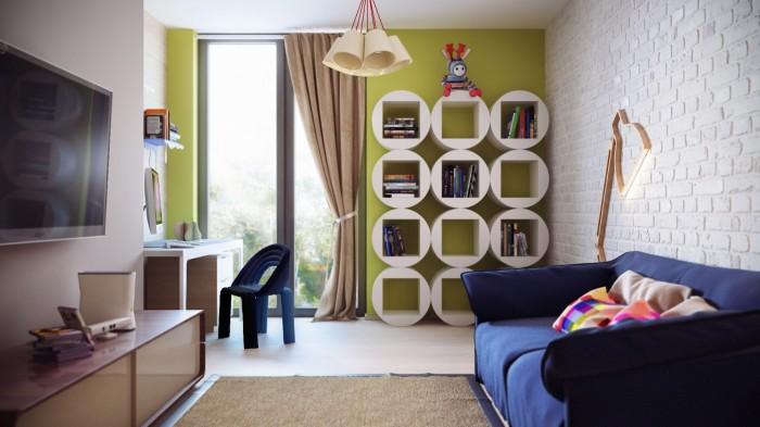 A teen's room is designed for them to enjoy now and well into the future. It boasts a desk with modern office chair, a loosely form sofa, and walls of brilliant sunflower yellow green.