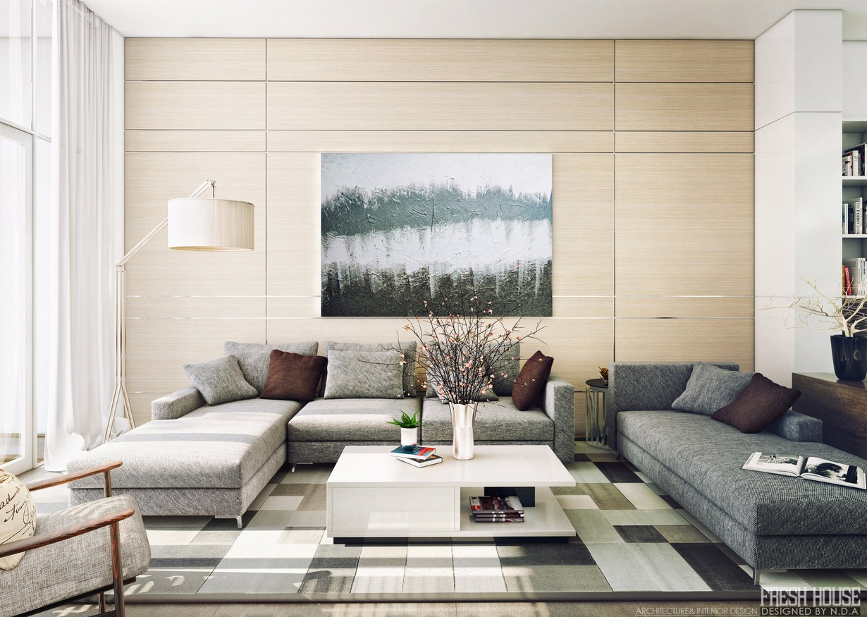 Modern Contemporary Living Room 1230 x 875