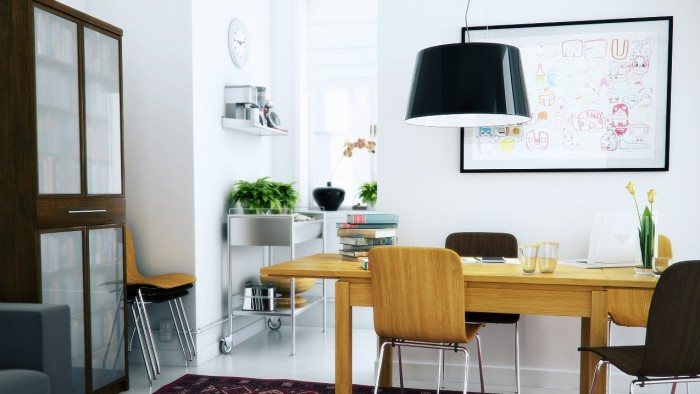 This dining room doubles as a workspace with wonderful results. The light and bright feel of the room is certainly conducive to creativity in all its forms.