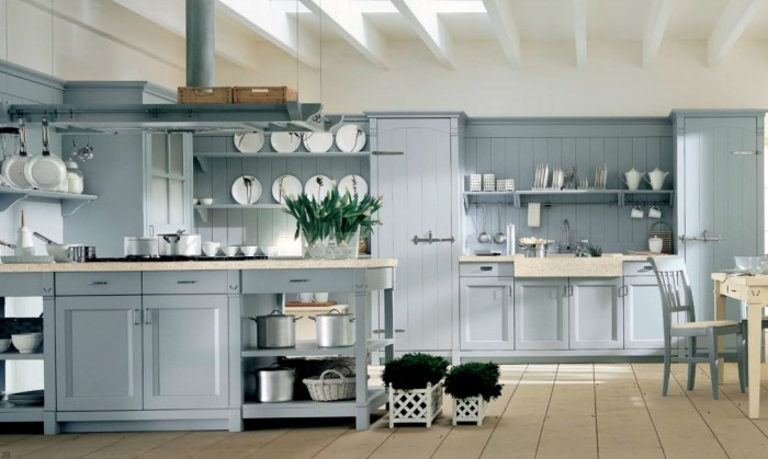 light blue country kitchen