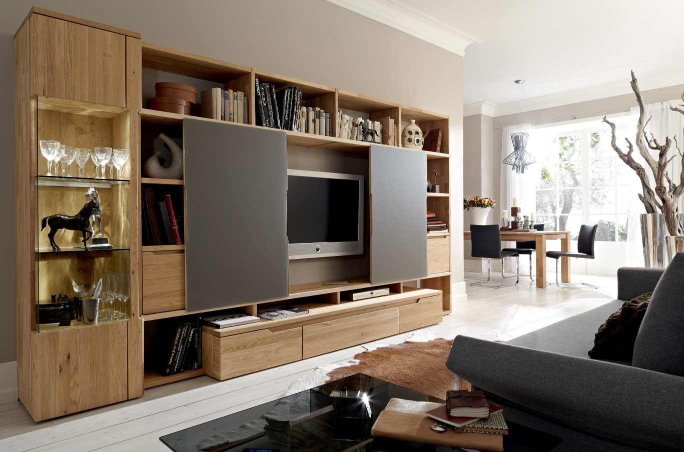 Design Of Tv Cabinet In Living Room Creative Curved White Gloss - Cabinet design for living room