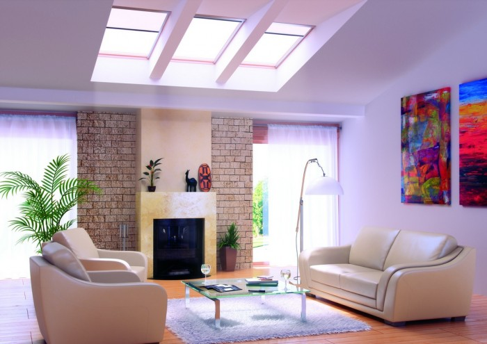 Grid skylights in contemporary living room