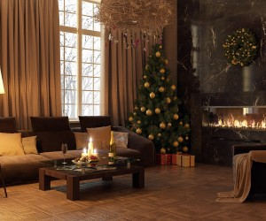 Modern decors dont have to be cold and unwelcoming during the holidays. Adding a Christmas tree, candles and a few festive Christmas baubles can amp up the welcome factor in a contemporary setting.