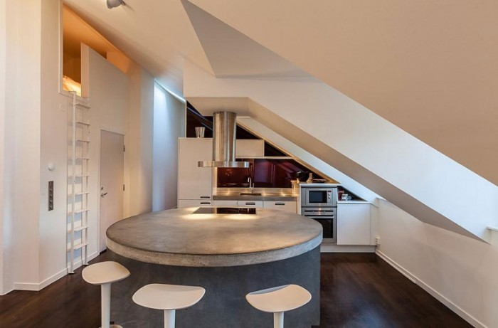 modern kitchen concrete island