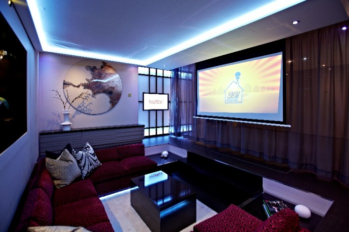 The silver screen in the YO!  sitting room