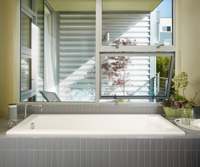 modern tub grey tile