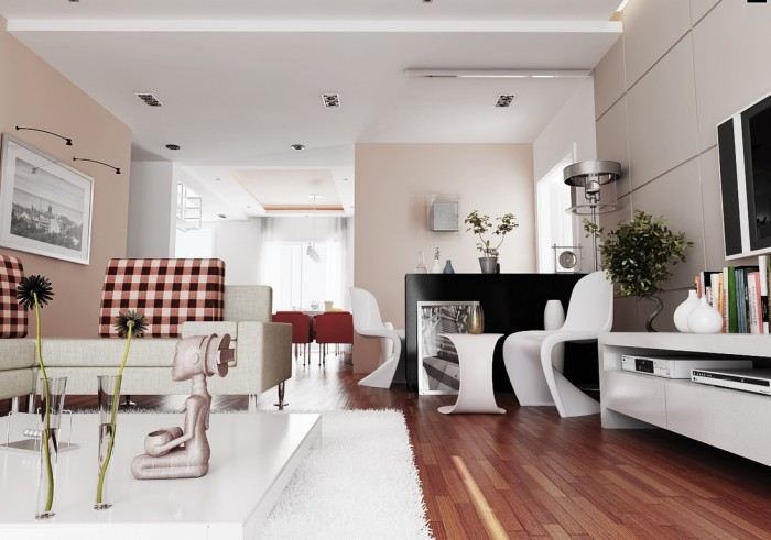 The softest whisper of pink gives this sophisticated city living space a warm glow complimented by the shading in the cherry wood floor.  While the modern Panton chairs and table add shape and movement to the room.