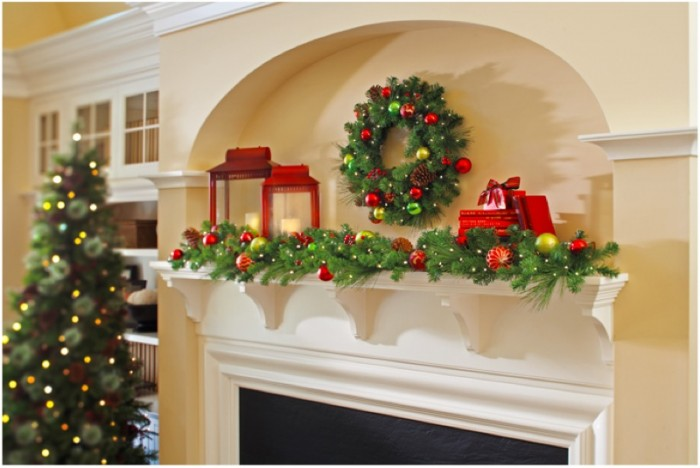 traditional christmas mantel decor