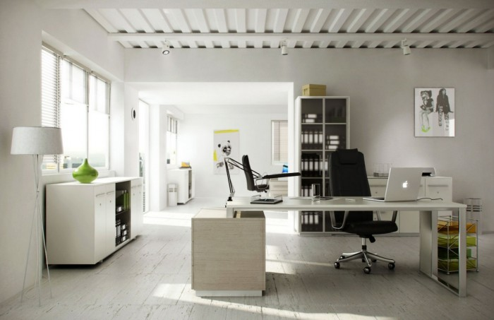 White is always a great choice for a home office as it bounces light around the room and lifts the spirit promoting creative works. This space amps up the white on every surface and element.