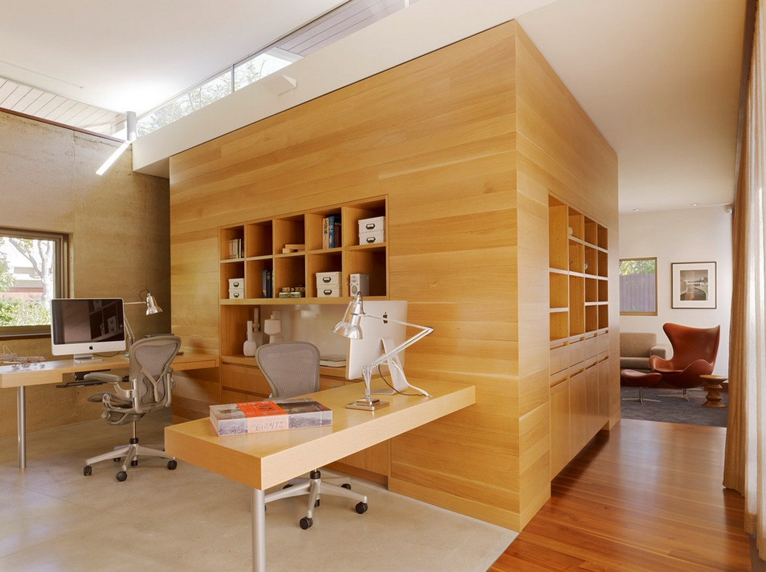 Wood paneling Modern home office design ideas pictures