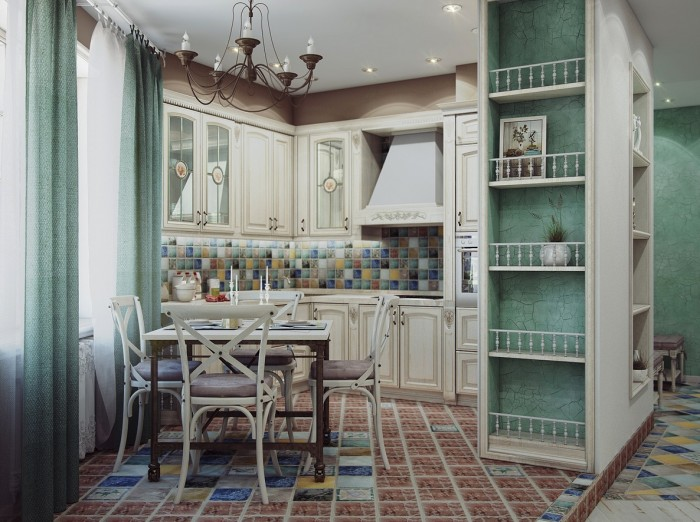 The designer utilized an odd shaped small space most effectively while creating an eat-in kitchen that has all of the elements needed to be the heart of the home.