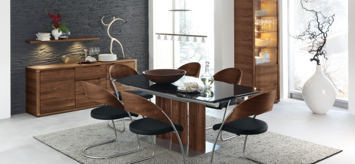contemporary black dining set