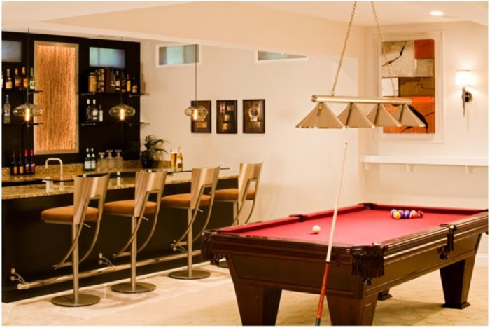 Game rooms such as this are a popular room option for many basements especially when the man of the house yearns for a man cave to call his own.