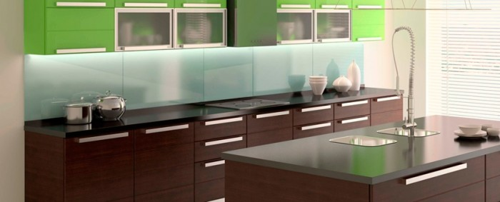 Lacquered glass makes an ultra modern kitchen backsplash come alive.