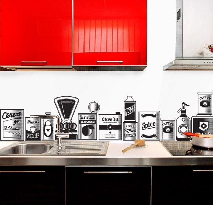 Vinyl sticker backsplash adds retro charm to this bold kitchen.