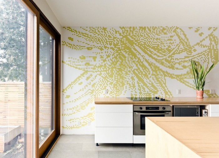 graphic pixilated kitchen wall