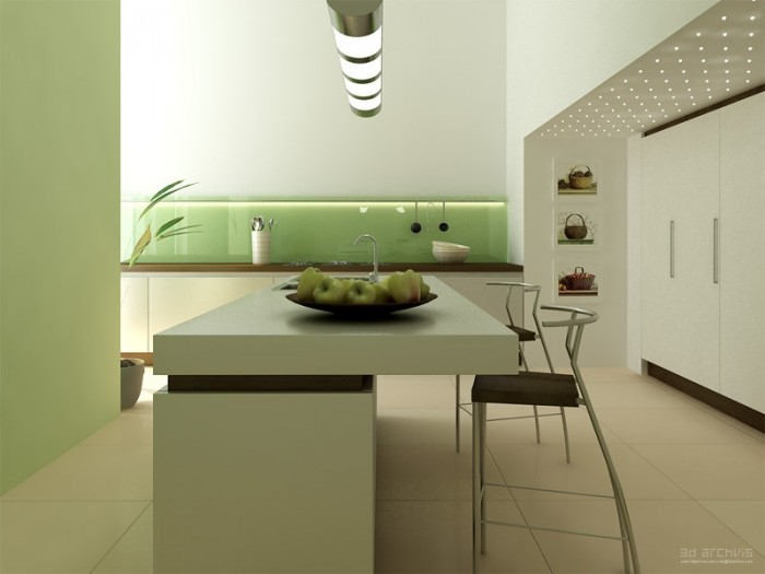 Minimalist Kitchen With Dining Island