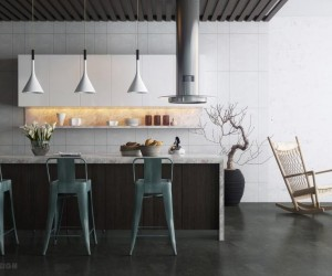 modern kitchen with island bar