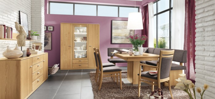 modern purple dining room