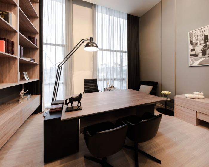 A home office sits on the second floor away from the hustle and bustle of the downstairs living space.